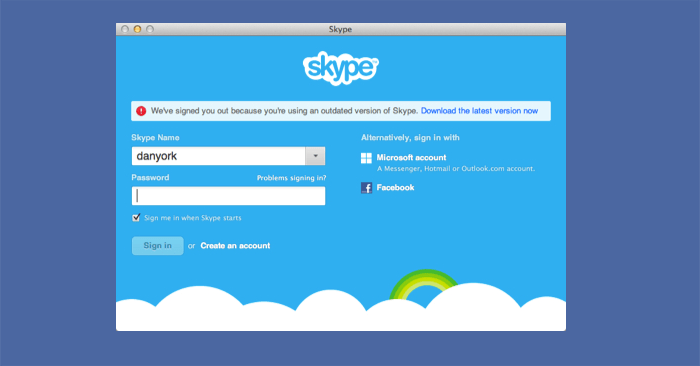 Signed You Out Because Of An Outdated Skype Version skype popup