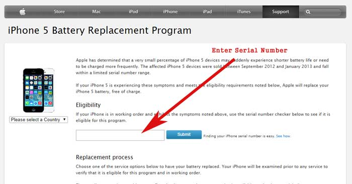 iPhone 5 battery replacement program apple offical program page