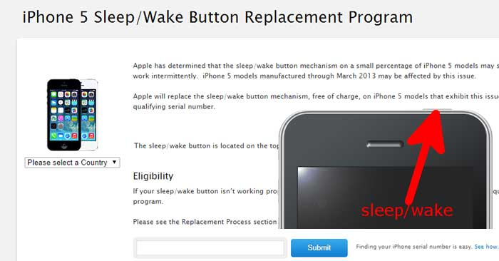 iPhone 5 battery replacement program sleep wake button